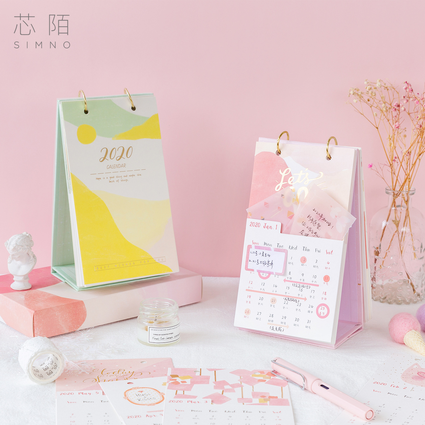 New Year FreshnessTable Calendar Mini Table Desk Calendar Agenda Organizer Planner Book Calendar 2020 With Sticker & Sticky Note