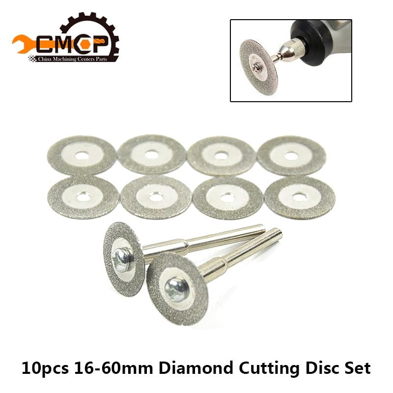 10pcs 16-60mm Mini Diamond Saw Blade For Rotary Tools Dremel Diamond Cutting Discs With Mandrel Micro Saw Blade Diamond Discs