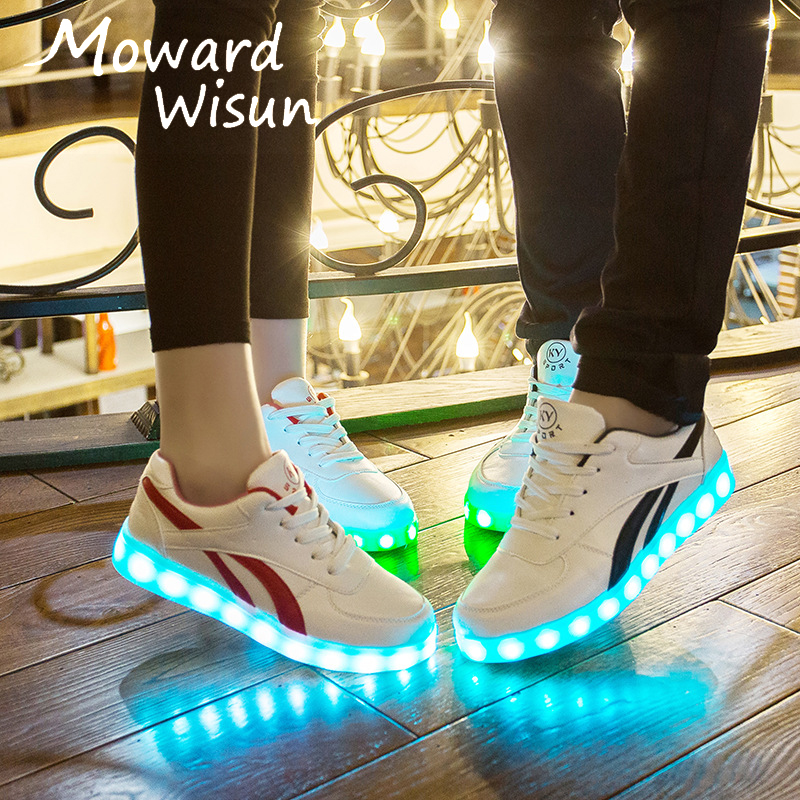 35-44 Large Size Luminous Sneakers For Kids USB Charge Led Shoes Adult Glowing Luminous Shoes For Boys Lighted Shoes With Light