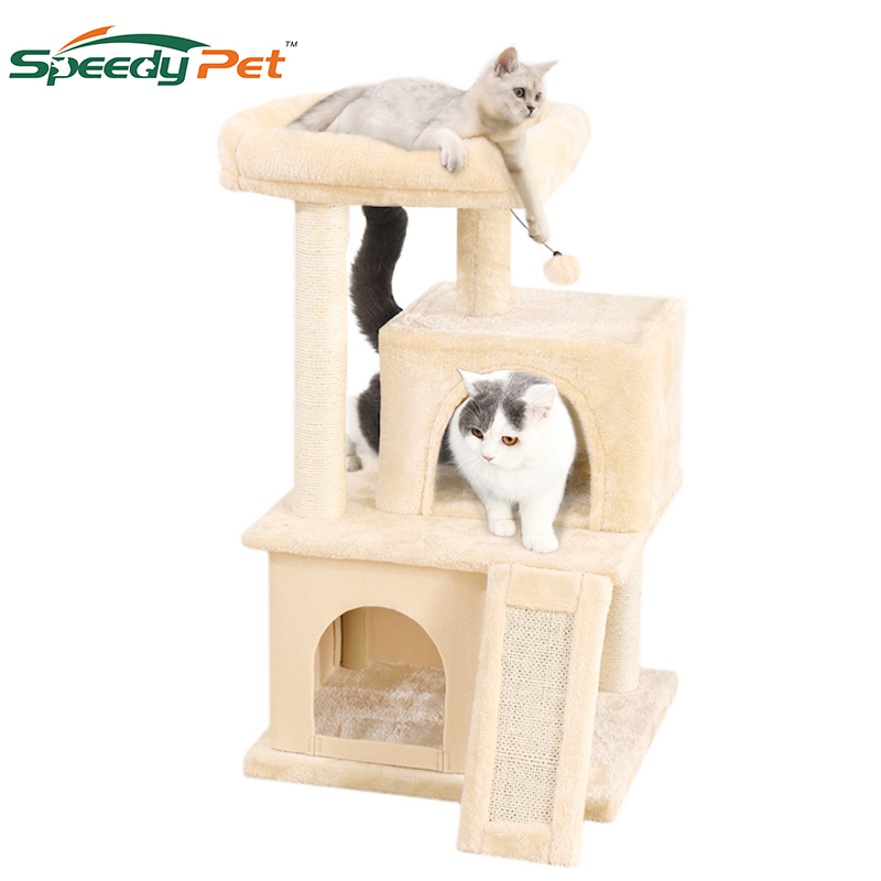 Drop Ship Cat Tree Condo With Sisal Scratching Posts Cat Tower Furniture Kitty Activity Center Kitten Play House Toys