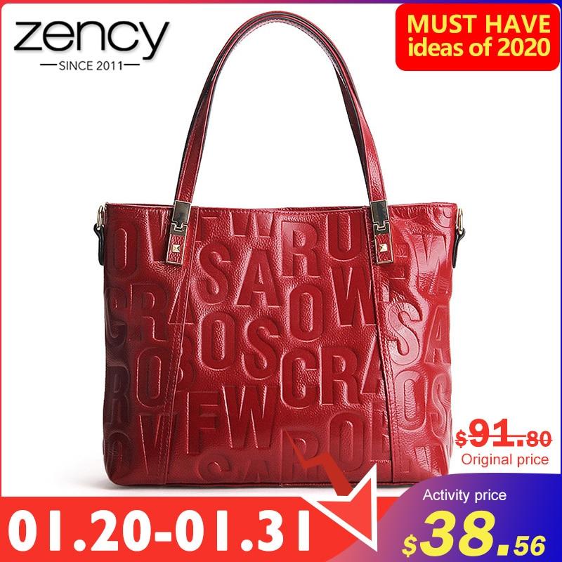 Zency Luxury Female Shoulder Bag 100% Natural Leather Fashion Grey Messenger Lady Charm Dark Red Handbag Crossbody Purse