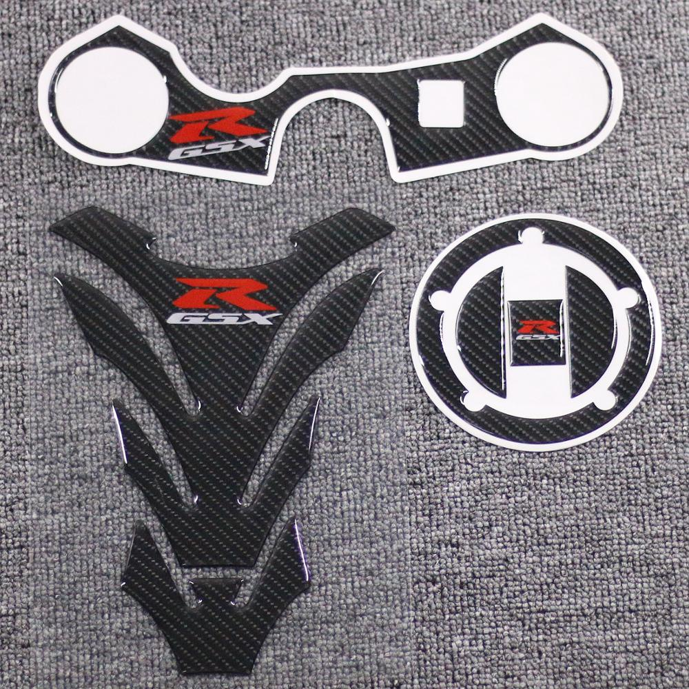 Carbon Fuel Tank Cap Sticker Pad Fork Triple Tree Upper Clamp Decal For <font><b>SUZUKI</b></font> <font><b>GSXR</b></font> <font><b>600</b></font> 750 2006 2007 <font><b>2008</b></font> 2009 2010 2011 2012 image