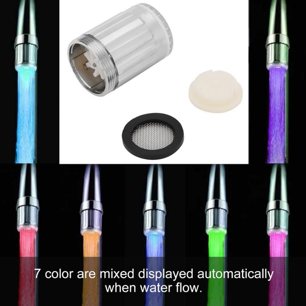 Luminous LED Water Faucet Shower Tap Temperature Sensor Intelligent Light-up Water Nozzle Head Light Kitchen Faucets 3Color 1