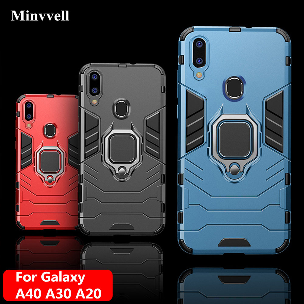 4 In 1 Case For Samsung Galaxy A40 A30 A20 Case Armor Cover Finger Ring Holder Phone Case For Samsung A 40 30 20 Cover Bumper