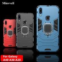 Funda 4 en 1 para Samsung Galaxy A40, A30, A20, funda armadura, soporte para anillo de dedo, funda de teléfono para Samsung A 40, 30, 20