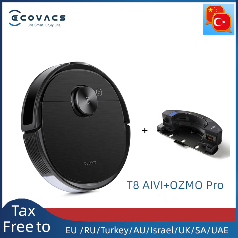 T8 AIVI Vacuum Cleaner Robot with OZMO Pro APP Function English speaking with the Empty Station Vacuum Cleaners  - AliExpress