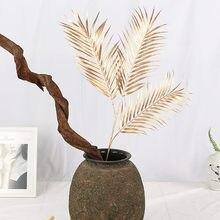 95cm 3 Gabel Künstliche Goldene Palme Blatt Kunst Blume Anordnung Material Indoor Landschaft Hotel Hochzeit Shop Home Deco pflanzen