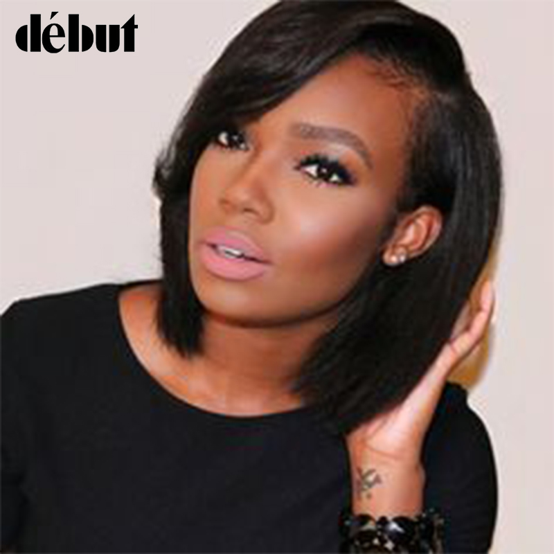 Debut Red Straight Bob Lace Front Human Hair Wigs For Black Women Ombre Brazilian L Part Short Wigs With Bangs Free Shipping