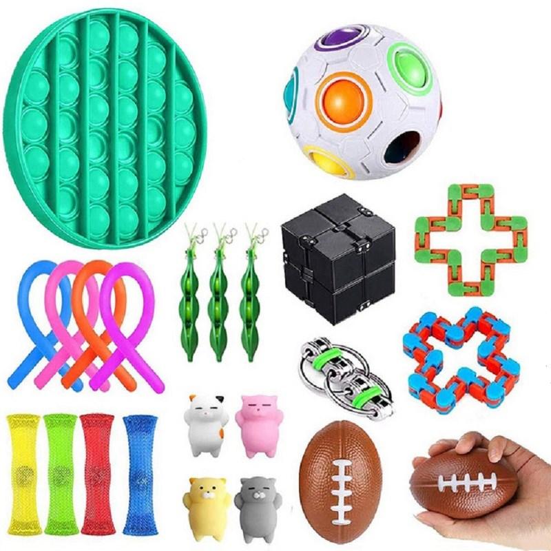 30 estilos de brinquedo sensorial fidget conjunto de alívio do estresse brinquedos autismo ansiedade alívio estresse pop bolha brinquedo sensorial para crianças adultos