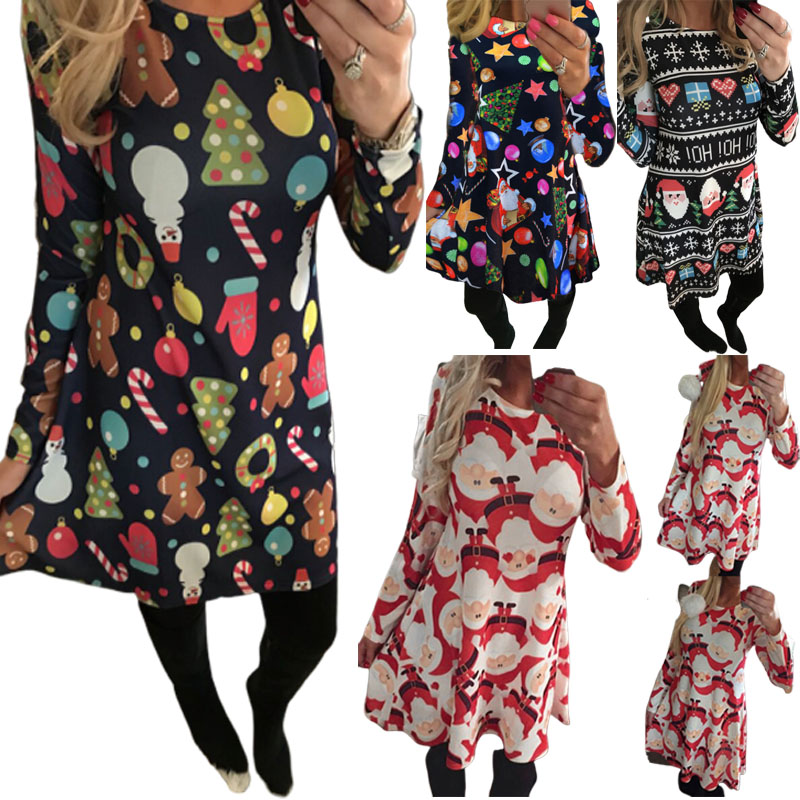 Autumn Winter Christmas Dress New Year Festival Family Party Dress Women Snowflake Print  Long Sleeve Vestidos Plus Size S-5xl