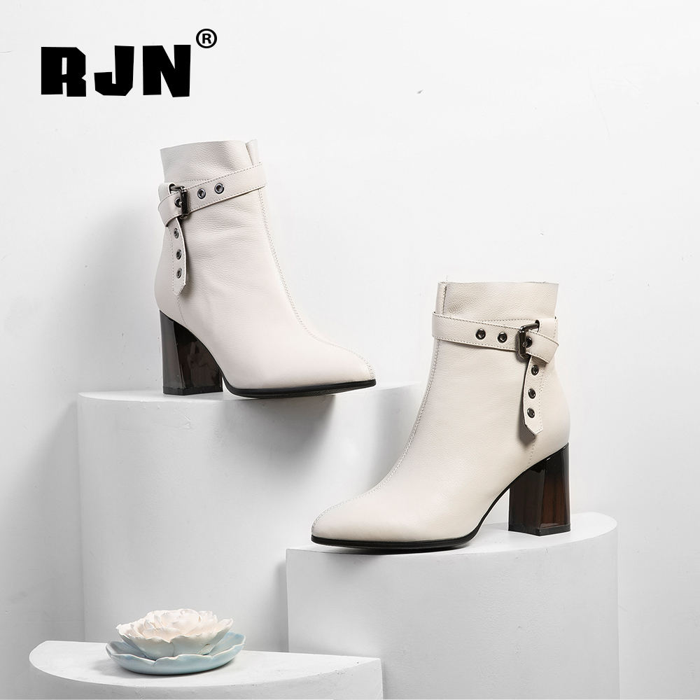 Buy RJN Sexy Pointed Toe Women Boots Fashion Buckle Strap Genuine Leather Wood Grain Heel Zipper Handmade Shoes Ankle Boots RO71