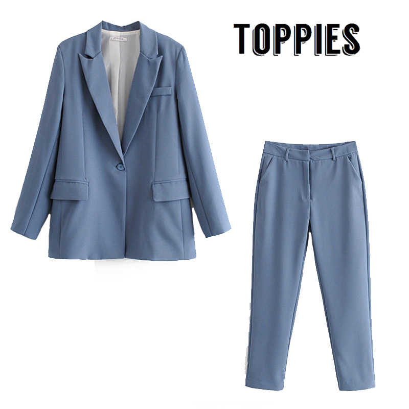 Leisure Office Pink Blue Suit Set Single Button Blazer Jacket High Waist Suit Pants 2020 Spring Two Piece Set Women