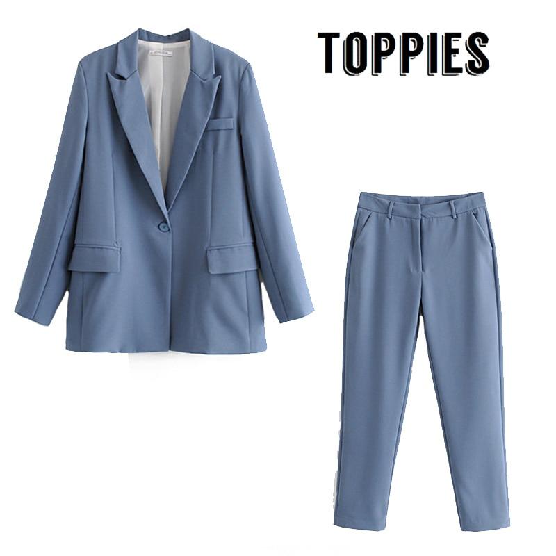 Leisure Office Pink Blue Suit Set Single Button Blazer Jacket High Waist Suit Pants 2020 Spring Two Piece Set Women
