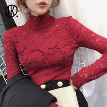 New Ladies Pullover Half High Neck Slim Top Spring Long-sleeved T-shirt Feminine Hollow Lace Bottoming T Shirts Tees For Female