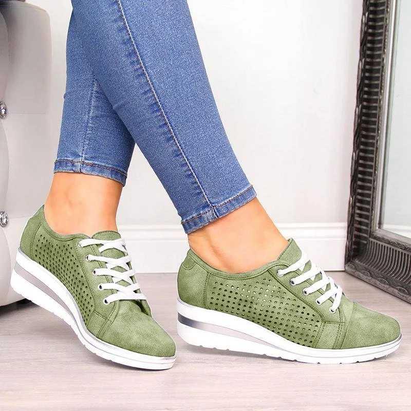 Oeak 2019 Sonbahar Kadın Flats Ayakkabı Kadın Içi Boş Nefes Örgü rahat ayakkabılar Bayanlar Daireler Üzerinde Kayma loafer ayakkabılar Plaj