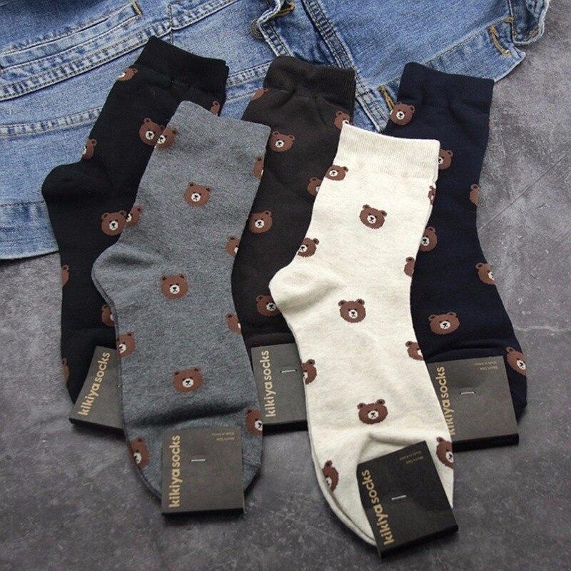 Cartoon Bear Print Socks Business Casual Compression Street Men Sock Autumn Winter Warm Sweat Absorption Black Cotton Crew Socks