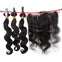 Salonchat Human Hair 3 Bundles with Frontal Closure Brazilian Hair Body Wave 13x4 Ear To Ear Lace Frontal Closure with Bundles