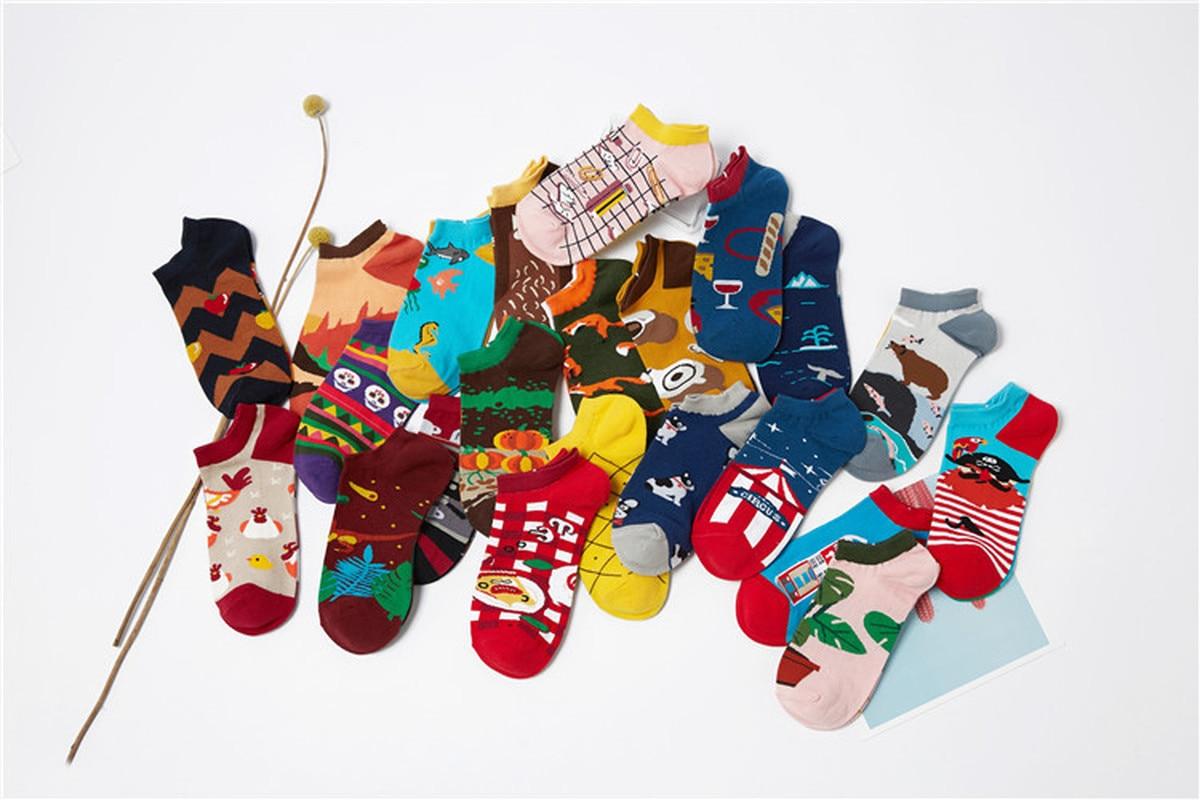 Sneakers Cute Style Unisex Women Harajuku Socks Left Right Different Pattern Fox Egg Sea Wine Tomato Pumpkin Creative Men Sock