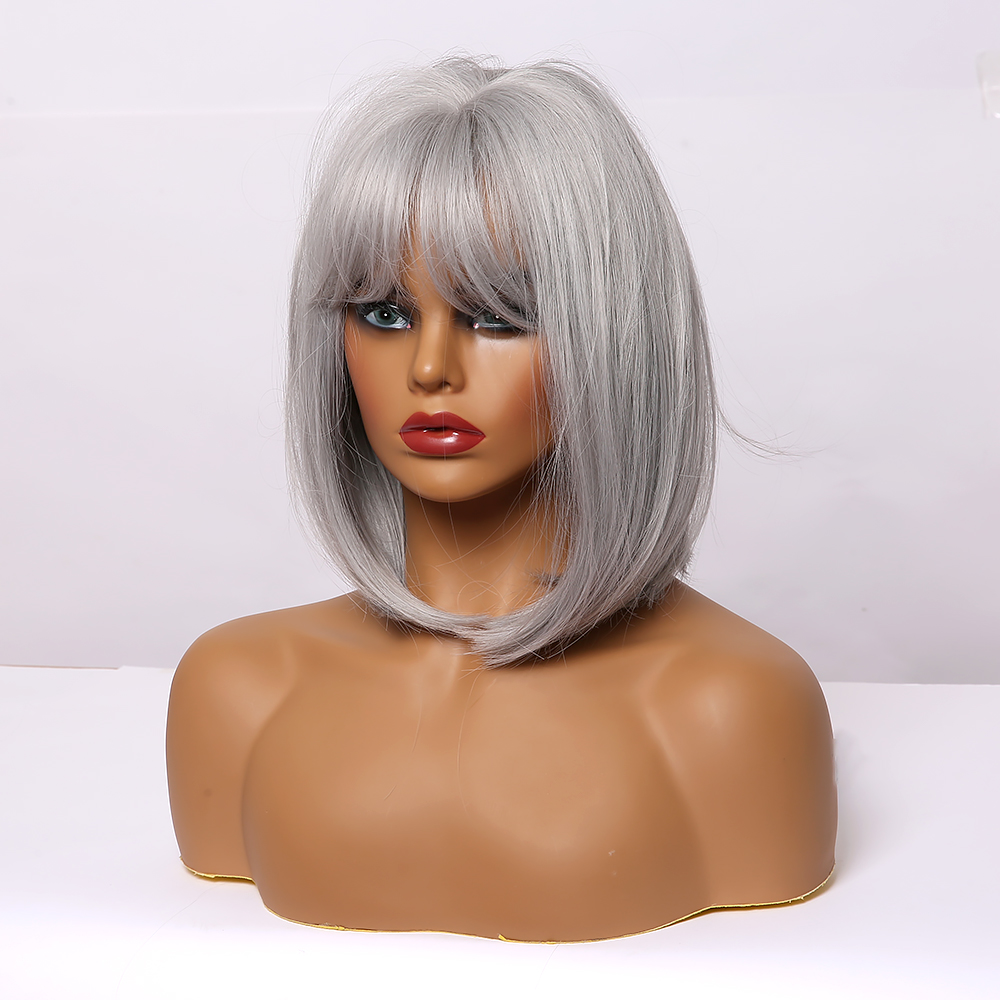 LOUIS FERRE Gray Ash Silver Wigs with Bangs Short Straight Cosplay Bobo Synthetic Wig for Black Women Heat Resistant Cute Fibre