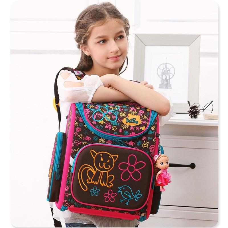 2019 Delune Brand 1 4 Grade Kids Schoolbag Orthopedic School Bag For Girls Boys Primary kids School Backpacks Children Bookbag in School Bags from Luggage Bags
