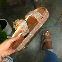 Summer Beach Bling Bling Crystal Rome Ladies Sandals Rhinestone Platform Mixed C