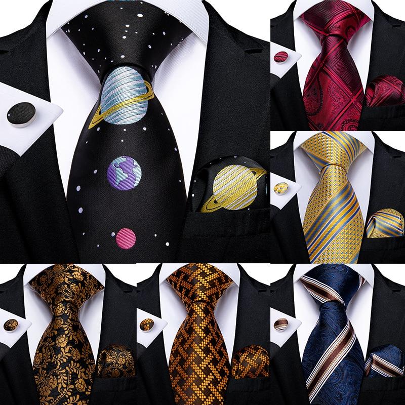 Mens Tie Planet Novelty Design Silk Wedding Tie For Men Party Business Fashion Necktie Hanky Gravata Set DiBanGu Dropshipping