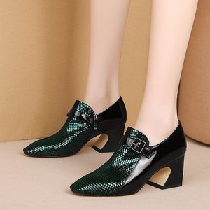 Image 4 - ALLBITEFO Two kinds of genuine leather high heel shoes women heels spring autumn high heels Belt buckle office ladies shoes