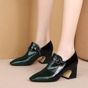 Image 4 - ALLBITEFO نوعين من جلد طبيعي أحذية عالية الكعب النساء الكعوب الربيع الخريف عالية الكعب حزام مشبك مكتب السيدات أحذية