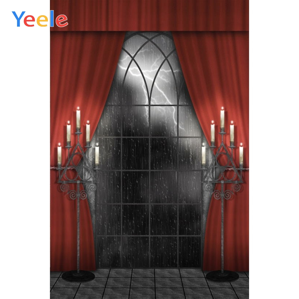 Yeele Halloween Backdrop Window Curtain Candle Indoor Photocall Photophone Custom Vinyl Photography Background For Photo Studio