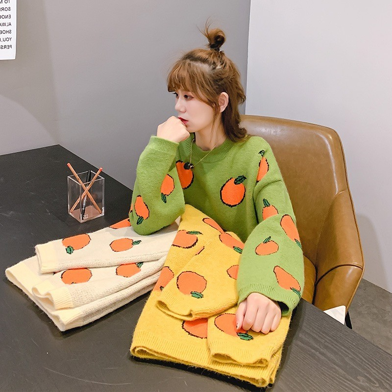 2019 Autumn Women Long Sleeve Loose Pullover Fruit Pattern Sweater Female Korean Style Casual Jumper Winter Clothes Pull Femme