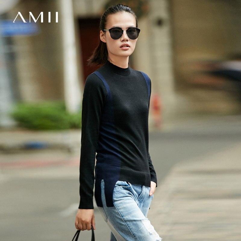 Amii Minimalism Fall Winter Splice Slim Sweater Women Fashion New Pullover 11787025