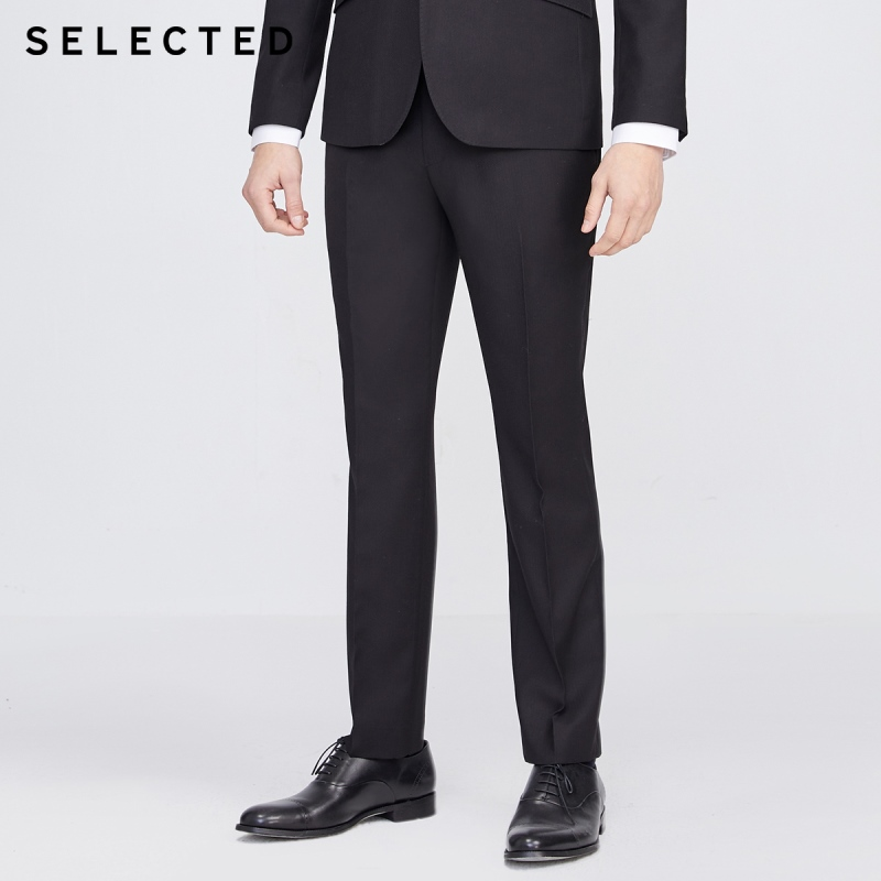 SELECTED Men's Slim Fit Business Casual Black Suit Pants S|42016A507