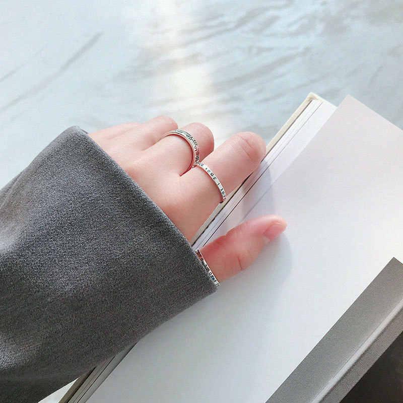 Độc đáo Bảng Chữ Cái Hy Lạp Xếp Hình Nhẫn Nữ Bạc 925 Có Thể Điều Chỉnh Vòng Tinh Tế Bị Oxy Hóa Bạc Thái Nữ Trang Sức Thời Trang