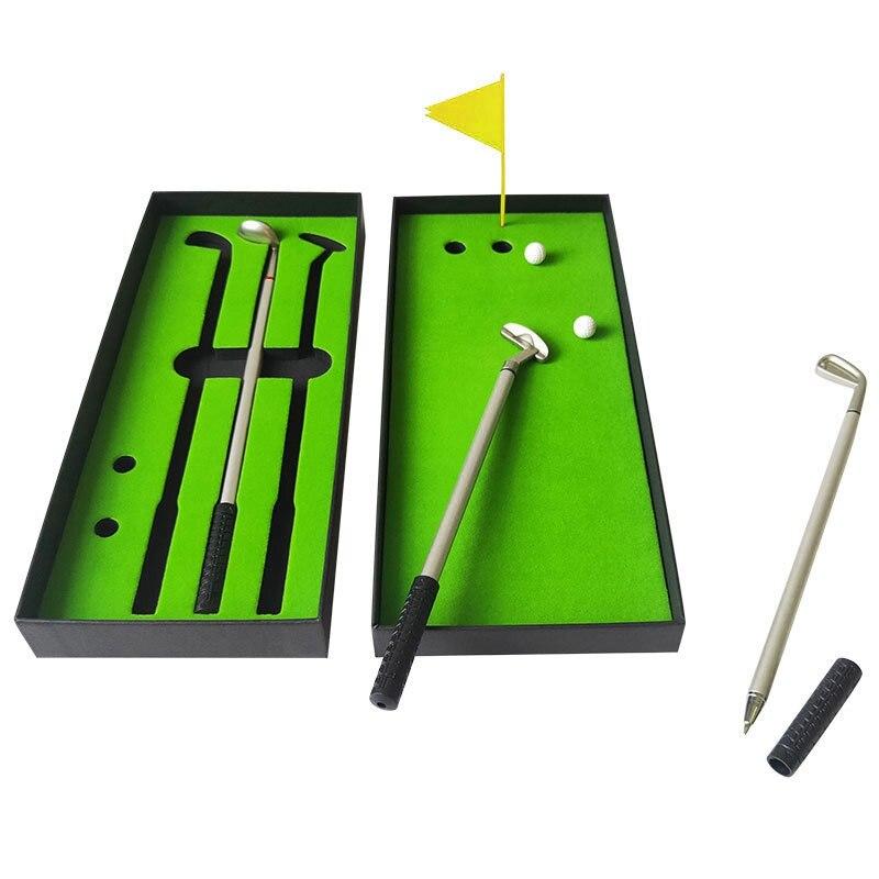 Creative Golf Box Ballpoint Pen Golf Tournament Set Gift Metal Club Pen Mini Golf Putter Pen