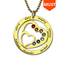 SG personnalise 925 argent sterling 2 coeur colliers pour femmes 2019 nouveau personnalisé pierre de naissance et gravure nom bijoux cadeaux