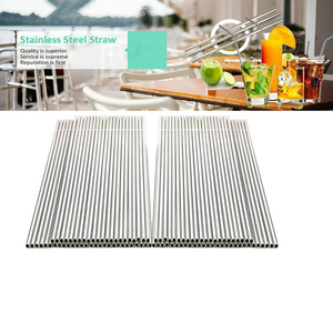 Image 3 - 50pcs/lot Reusable Stainless Steel Straws Straight bending Drinking Straws With Cleaner Brush Metal Straw Bar Party Accessory