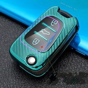 Nova fibra de carbono tpu caso chave do carro para kia ceed picanto sportage para hyundai i30 ix35 caso chave do carro inteligente titular capa chaveiro