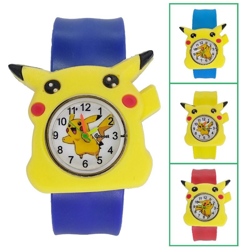 New Cute Bear Blue Kids Watches Cartoon Pikachu Children Watch Silicone Bracelet For Boys Girls Baby Christmas Gift Child Clock