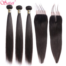 Satai Straight 8-30 Inch 3 Bundles With Closure M Brazilian Non Remy Hair Natural Color 100% Human Hair Bundles With Closure(China)
