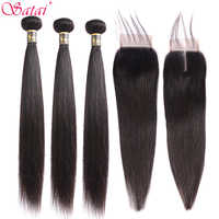 Satai Straight 8-30 Inch 3 Bundles With Closure M Brazilian Non Remy Hair Natural Color 100% Human Hair Bundles With Closure