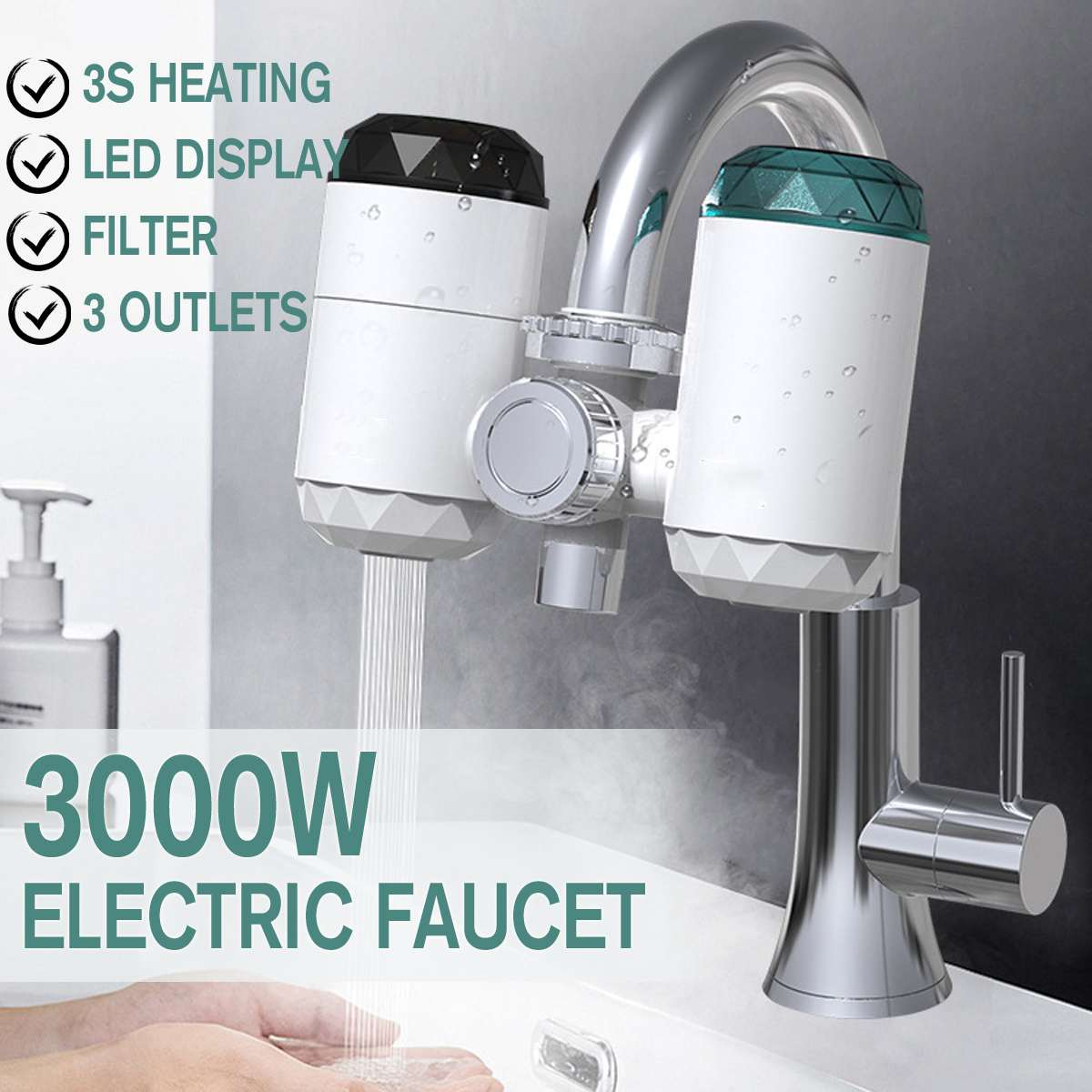 Tankless Electric Kitchen Water Heater Tap Instant Hot Water Faucet Cold Heating Faucet Instantaneous 220V