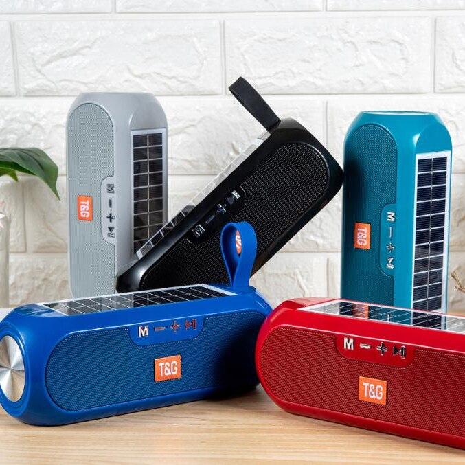 Bluetooth Speaker Portable Column Wireless 3D Stereo Music Box Solar Power Bank Boom box MP3 Loudspeaker Outdoor Speaker 6