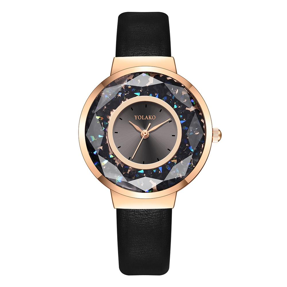 Fashion Simple Women Dress Watches Female Leather Quartz Diamond Watch Black Ladies Luxury Rose Gold Case Rhinestone Wristwatch
