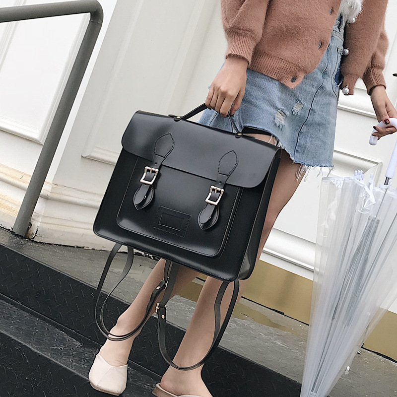 2019 New Korean Version Of The Retro College Style Shoulder Bag Hand Fashion Wild Soft Leather Female Backpack