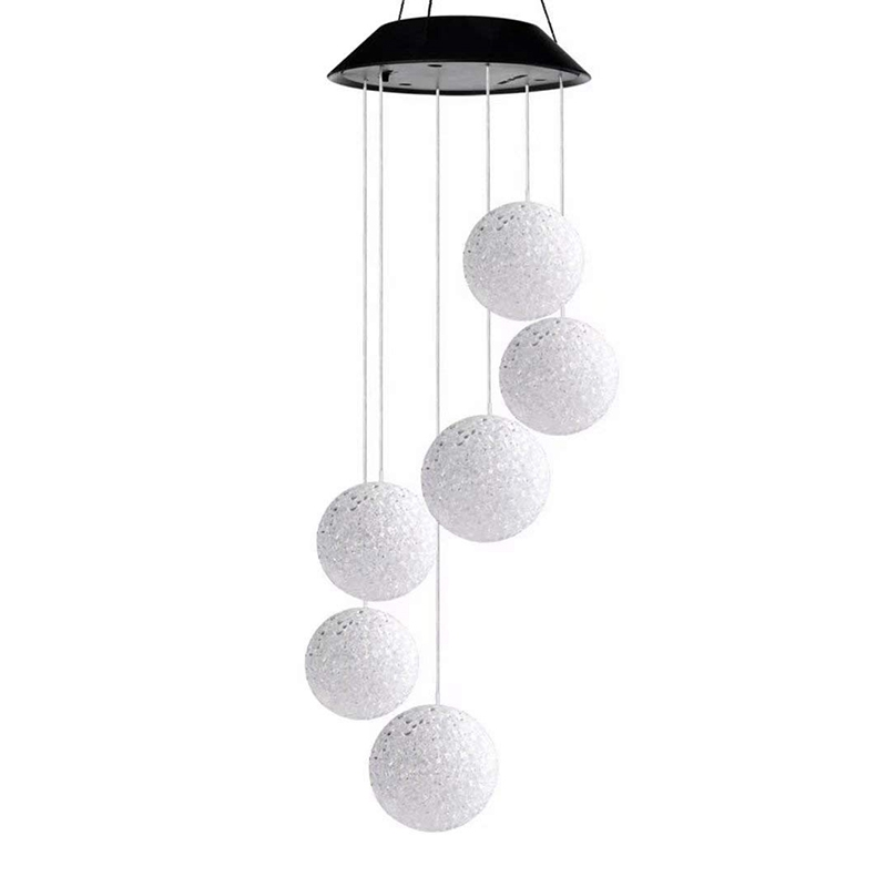 Solar Powered Wind Chime Light String Crystal Ball Color Change Outdoor Waterproof LED Garden Balcony Window Decoration Lamp