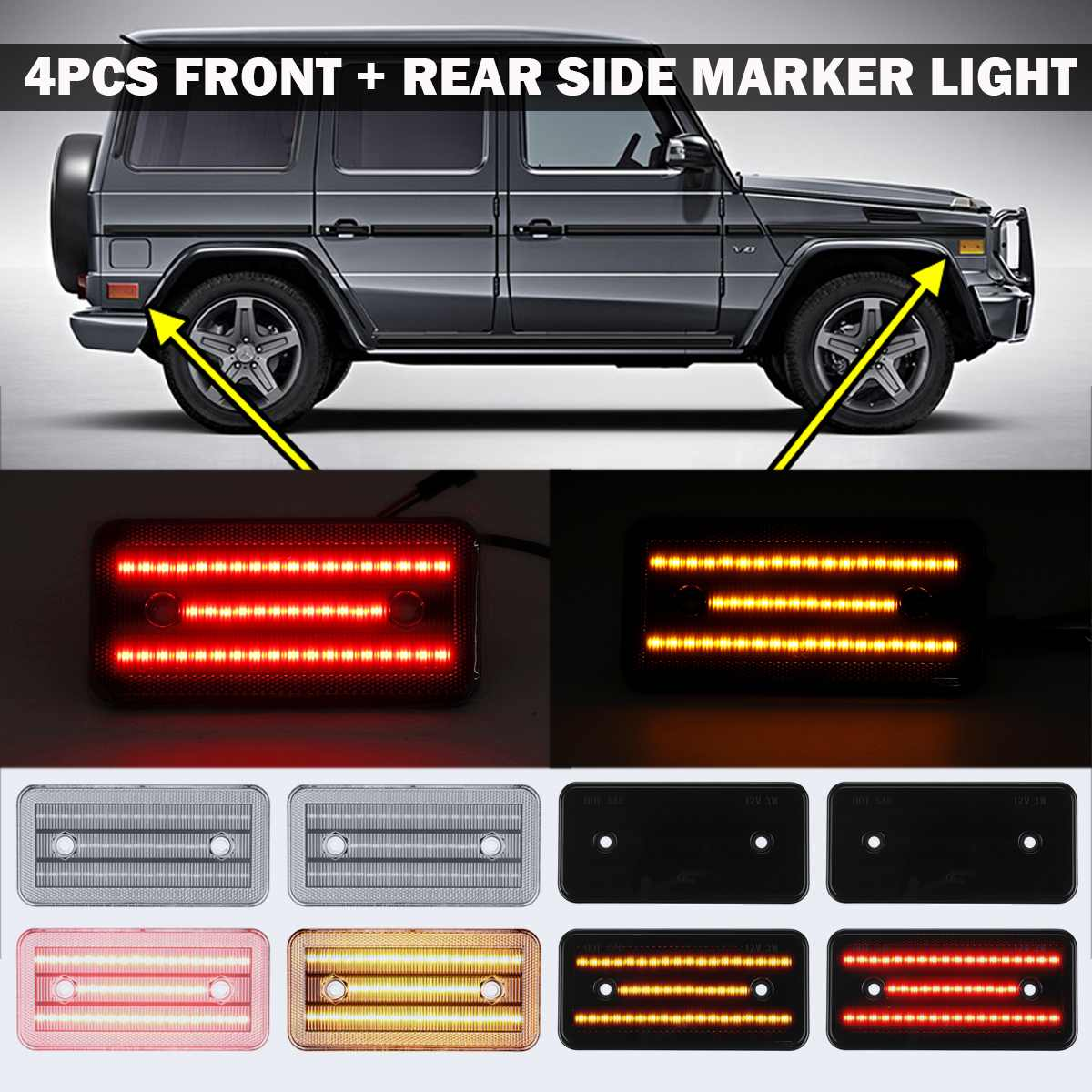 4Pcs/Set LED Side Marker Bumper Lights Turn Signal Lamps for Mercedes W463 G-Class G500 G550 <font><b>G55</b></font> G63 for <font><b>AMG</b></font> 02-14 image