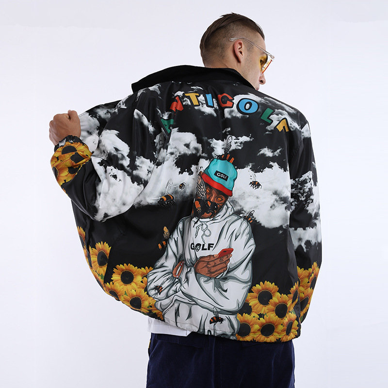 2019 New Hip Hop Style Streetwear Casual Bomber Jacket Men Coat Fashion Rapper Printed Mens Jackets  Jaqueta Masculina