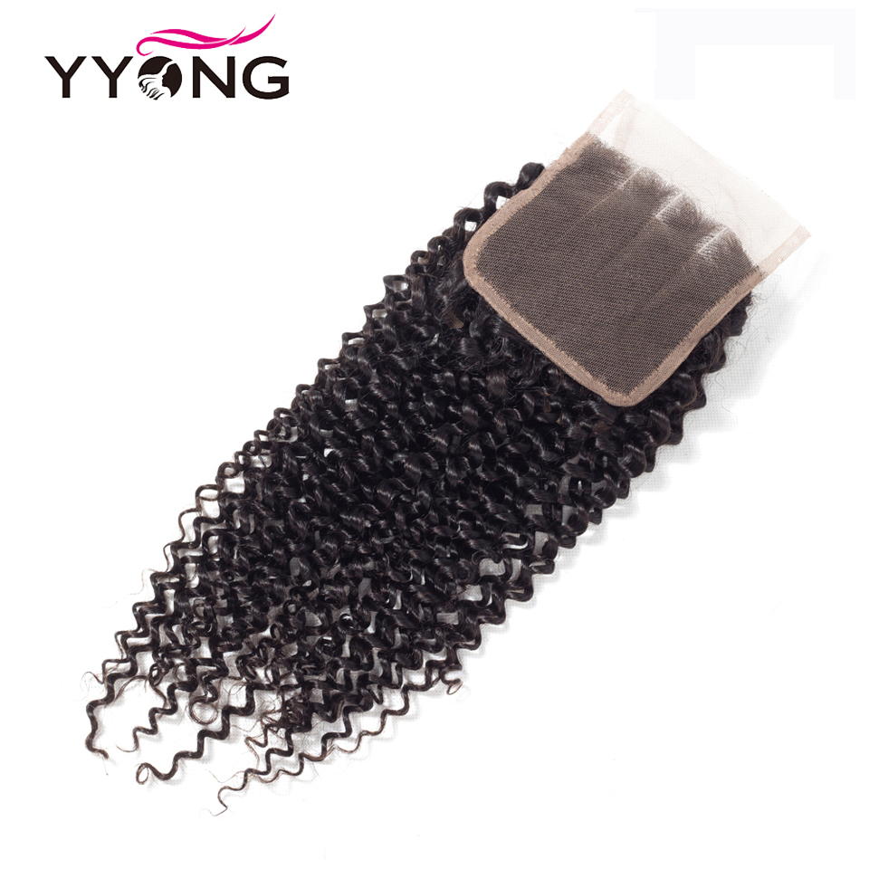 Yyong 4X4 Lace Closure  Kinky Curly Hair 100%  Lace Closure Bleached Knots Free Part Natural Hairline 2