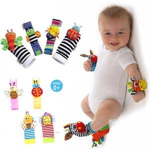 Image 1 - Correia de pulso Chocalhos Meias Animais Brinquedo Novo UM Par 2 pçs/set Handbells Infantil Do Bebê Macio Mão Pé Developmental Brinquedos 0 12Months