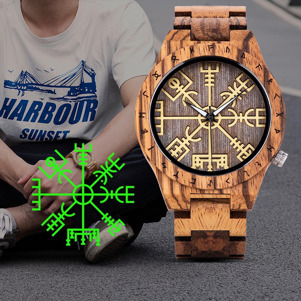 Reloj hombre BOBO BIRD Wood часы для мужчин Helm of Awe или Vegvisir дизайн люксовый бренд Мужские часы ручной работы с логотипом на заказ